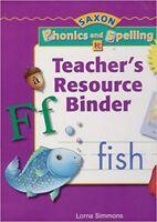 Kindergarten Saxon Phonics and Spelling Teachers Resource Binder Edition Grade K