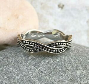 Sterling Silver Crossover Ring, Simple Twisted Band Ring - Jewelry Sizes 6,7,8,9
