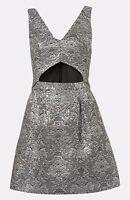 Topshop Women's Silver Sleeveless Brocade Cut Out Dress Size 6-14