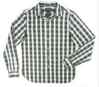 NEW $98 BLOOMINGDALES HUNTER GREEN WHITE PLAID CASUAL DRESS SHIRT SIZE L