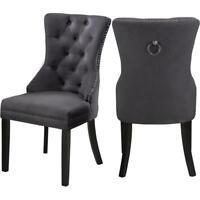 """Meridian Furniture Nikki 19.5""""H Velvet Dining Chair in Gray (Set of 2)"""