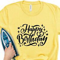 Iron-On Transfer Happy Birthday Party T-Shirt Vinyl Sticker Gift