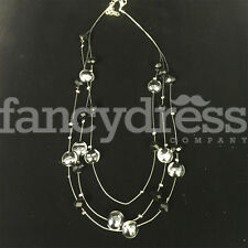 Ladies Silver Bead Black Silver Beaded Necklace Costume Jewellery NEW Gift