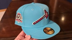 Sportsworld 165 Vice Blue Braves 150th Anniv. Patch Hot Pink UV Fitted 7 3/4