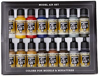 Vallejo Model Air Basic Colors Acrylic Paint Set for Air Brush - Assorted Pack