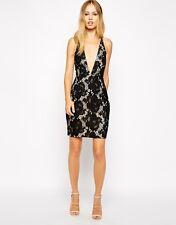 Stylestalker Cross Back Plunge Neck Floral Lace Mini Evening Dress L - UK 12