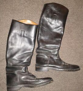 Vintage MARLBOROUGH Leather Equestrian Riding Boots Black Mens size 9.5
