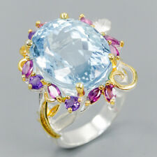 Top Color A28ct+ Natural Blue Topaz 925 Sterling Silver Ring Size 8.5/R115585