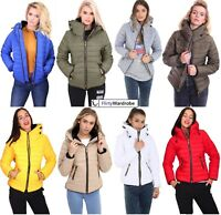 Womens Ladies Quilted Padded Coat Bubble Puffer Jacket Fur Collar Hooded Thick