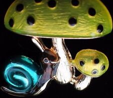 """FORREST GROUPING BUG INSECT FUNGUS MUSHROOM SNAIL PIN BROOCH JEWELRY 1.75"""""""