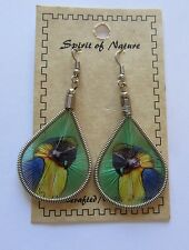 Earrings  Spirit of Nature thread - PARROT yellow blue -green background
