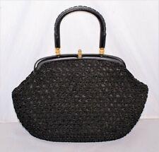 "Vintage 50's Black Cord Braid Macrame Purse Handbag - 12"" W x 8"" H"