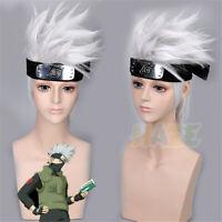 Anime Naruto Hatake Kakashi Cosplay Wig Silver White Men's Wig Halloween