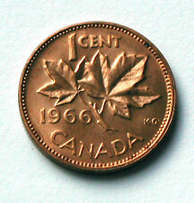 1966 CANADA Elizabeth II Coin - One Cent 1¢ - BU UNC - red (from mint roll)