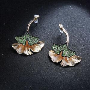 Boucles d'oreilles Ear Jacket Doré Deux Feuille Ginkgo Cristal Vert Art Deco A29