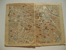 stampa antica old map MAPPA PIEMONTE TORINO piazza castello  PRIMI 900