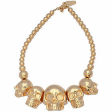 Kreepsville 666 Skull Collection Gold Necklace Punk Goth Halloween Horror Charm