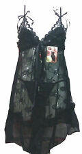 Aimerfeel See through black floral lace Nightdress with ruffled bra size 8-12