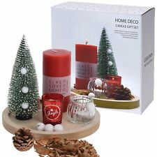 Decorative Christmas Tree Tealight Candle Holder Glasses Wooden Tray Gift Set