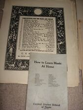 "Vintage ""US School of Music"" 1920's  Music Lessons for Piano"