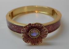 Betsey Johnson Rare Pink Flower & Glitter Gold Tone Magnetic Snap Bracelet