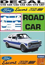 DECAL FORD ESCORT RS 2000 MKI ROAD CAR BLUE (06)
