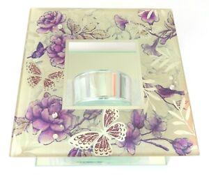 Lilac Glitter Butterfly Tea Light Holder 12 CM