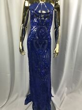 Sequins Fabric 4 Way Stretch By The Yard Royal Blue Power Mesh Fashion Dress Top