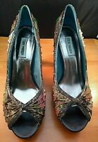 Steve Madden Women's Peep Toe Heels Size 10M Tapestry Brown Sequins Beads
