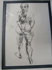 Figure drawing nude expressive, charcoal/paper, woman standing back A1/A2 size @