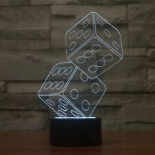 3D Lamp Dice Optical Illusion Led Night Light 7 Colors Touch Switch