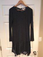 Michael Michael Kors Navy Blue Asymmetrical Polka Dot Dress, Size Medium