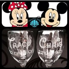 Personalised Disney Minnie & Mickey Mouse Pair of Wine Glasses! Wedding Gift!