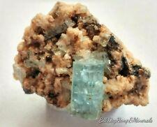Aquamarine crystal on matrix - Devils Den, Artith Lake, Idaho