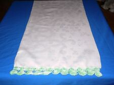 Vtg Antique WHITE IRISH LINEN DOUBLE DAMASK CROCHETED Trim Pillowcase Standard