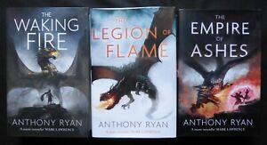 WAKING FIRE LEGION FLAME EMPIRE ASHES Anthony Ryan MATCHING # SIGNED LTD SET