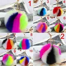 Suave imitación conejo piel bola pompón llavero coche colgante multicolor bolso