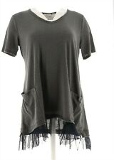 LOGO Lori Goldstein Washed Jersey Top Raw Edge & Ruffle Slate L # A302481