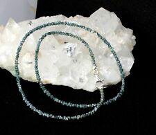 Verdaderos Natural Crudo Diamante Cadena de Piedras Preciosas Estrás Azul Collar
