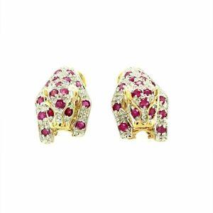 9ct Gold Diamond & Ruby Earrings