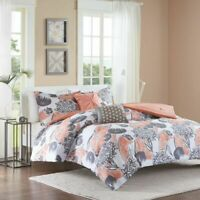 Chic Coral Grey & White Floral Comforter Set and Decorative Pillows 4 Piece Set
