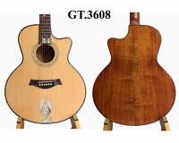 Queen Inlaid Solid Acaia Koa Cutaway 6 Strings Handmade Acoustic Guitar GT3608
