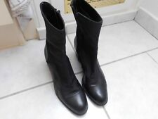 TOP Schicke Stiefel Stiefeletten Leder Textilfutter Gr 38 schwarz 5,5 cm Absatz