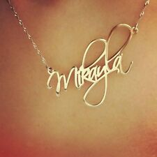 14k Solid Yellow Gold Personalized Name Necklace Custom Name plate 14 carat ct
