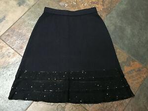 0920 St. John EVENING Size 4 Black Knit Skirt w/ Open Lattice Hem STUNNING! B