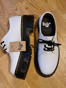 Dr Martens Platform Shoes Smooth ~ White leather ~ Black Sole ~ Size 8