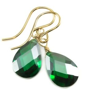 14k Gold Cubic Zirconia Earrings Sim Emerald Green CZ  Sterling Faceted Dangles