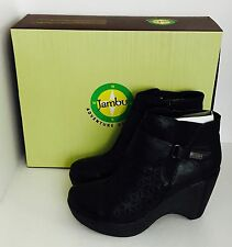 Women's Jambu Amber Black Leather Platform Fashion Boots Size 9