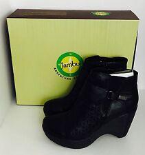 Women's Jambu Amber Black Leather Platform Fashion Boots Size 9
