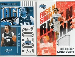 2- COLE ANTHONY 2020-21 NBA HOOPS JERSEY & CLASS OF 2020 ROOKIE CARDS